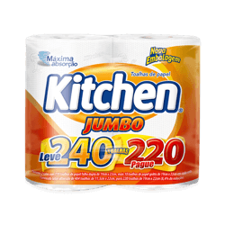 Papel toalha Kitchen Jumbo leve 240, pague 220 folhas