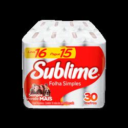 Papel higiênico folha simples Sublime leve 16 pague 15 rolos